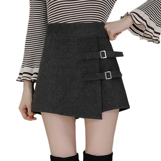 Tamaño Mini Cintura Shorts Mujeres 2019 Botón Pantalones Cortos Mujer Falda Alta Otoño Invierno Botas Plus Lana Asimétrico De nPkX8wO0
