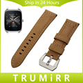 22mm Calf Genuine Leather Watch Band for Asus ZenWatch 1 2 Men WI500Q WI501Q Stainless Steel Tang Buckle Strap Wrist Bracelet