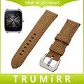 22mm bezerro faixa de relógio de couro genuíno para asus zenwatch 1 2 Homens WI500Q WI501Q Aço Inoxidável Tang Buckle Strap relógio de Pulso pulseira