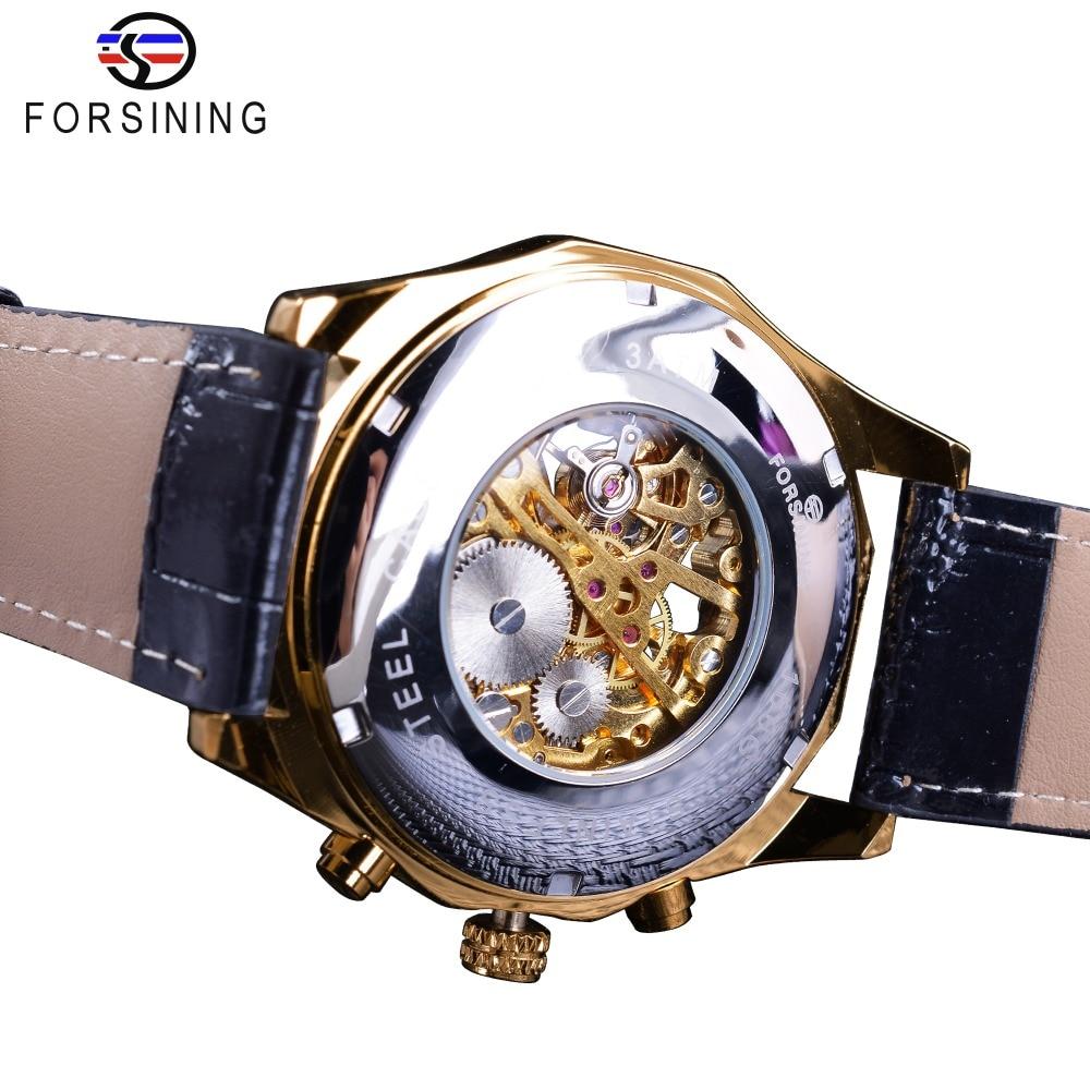 Forsining Waterproof Golden Black Skeleton Clock Two Button Decoration Mechanical Wrist Watches for Men Black Genuine Leather 4