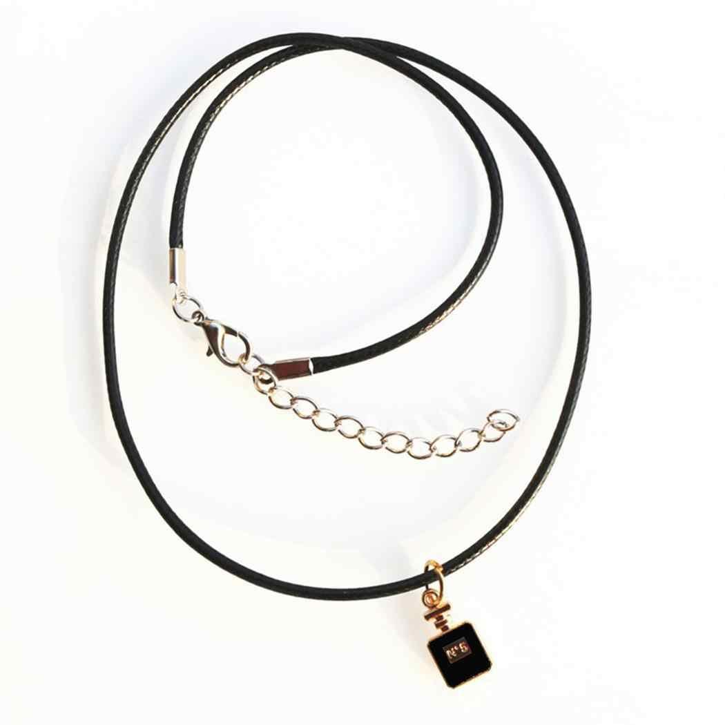 Женская Повседневная геометрическая форма Веревка Цепь 43 см/16,9 дюйма 5 см/2 дюйма кулон ожерелья черный