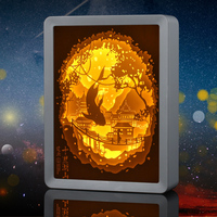 New Product Paper Cut Led Night Light Painting 3D Shadow Box Frame Led Baby Night Light Box Frame