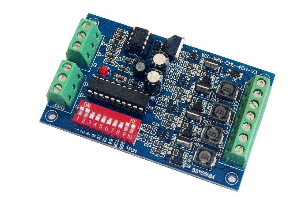 4 kanálový 350MA DMX512 RGBW regulátor s konstantním proudem Společný anodový 4CH DMX512 dekodér DC5-24V vstup na každý kanál 350MA