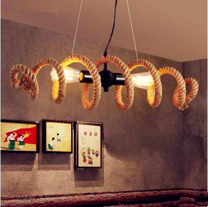 Loft Industrial Pendant Light Fixtures American Country Retro Vintage Rope Lamp Hanging Lights Lamparas Colgantes Luminaire america country led pendant light fixtures in style loft industrial lamp for bar balcony handlampen lamparas colgantes