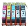 5 Pacote de 1 Conjunto + 1bk 564 564XL Novos Cartuchos de Tinta Compatíveis cartucho para hp hp564 hp564xl 5511 photosmart c5373 c5383 c6300 jato de tinta impressora