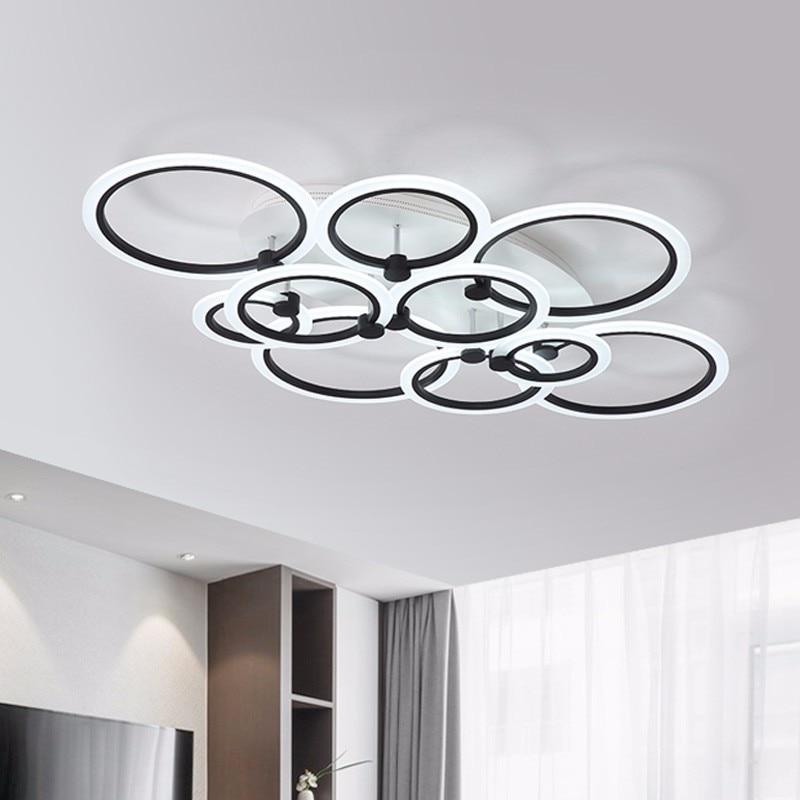 Lampe de plafond moderne à LEDs pour éclairage de chambre à coucher avec télécommande salon salle à manger luminaires noirs luminaires maison Luminaria Lustre