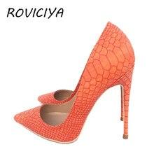 Laranja mulher bombas sapatos cobra padrão apontou dedo do pé sexy saltos altos 12 cm sapatos de grife mais tamanho yg020 roviciya