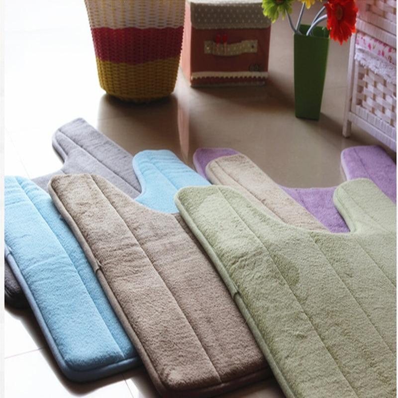 Bathroom Coral Fleece Carpet U-Shaped Memory Foam Bath Mats Rug Anti-slip Floor Carpets For Hotel Restroom Toilet 40*60cm X