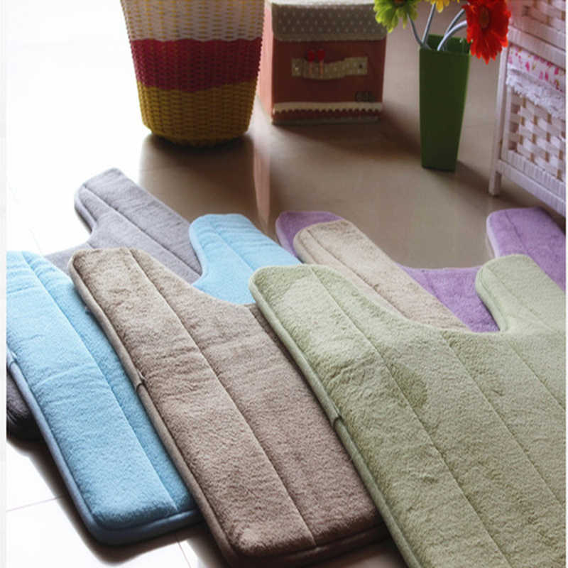 Bathroom Coral Fleece Carpet U-Shaped Memory Foam Bath Mats Rug Anti-slip Floor Carpets For Hotel Restroom Toilet 40*60cm X