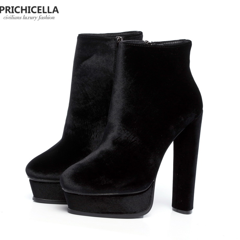PRICHICELLA Quality 14cm high heeled Lady patform booties genuine leather fashion women shoes size35 42