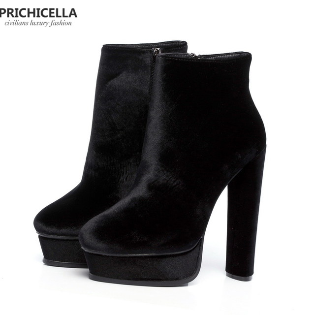 e8c9673996d US $88.0 |PRICHICELLA Quality 14cm high heeled Lady patform booties genuine  leather fashion women shoes size35 42-in Ankle Boots from Shoes on ...