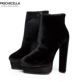 Prichicella качество 14 см высокий каблук леди patform пинетки Натуральная  Кожа Модная женская обувь size35-42 a5e75040ca0fd