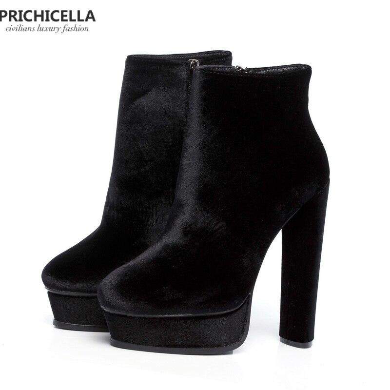 Prichicella 품질 14 cm 높은 굽 숙 녀 patform 부츠 정품 가죽 패션 여성 신발 size35 42-에서앵클 부츠부터 신발 의  그룹 1