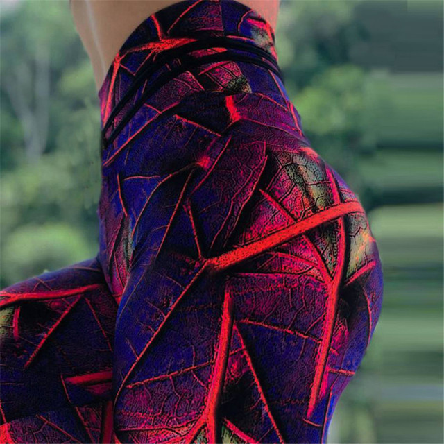 3D Leaves Printed High Waist Elasticity Leggins 5