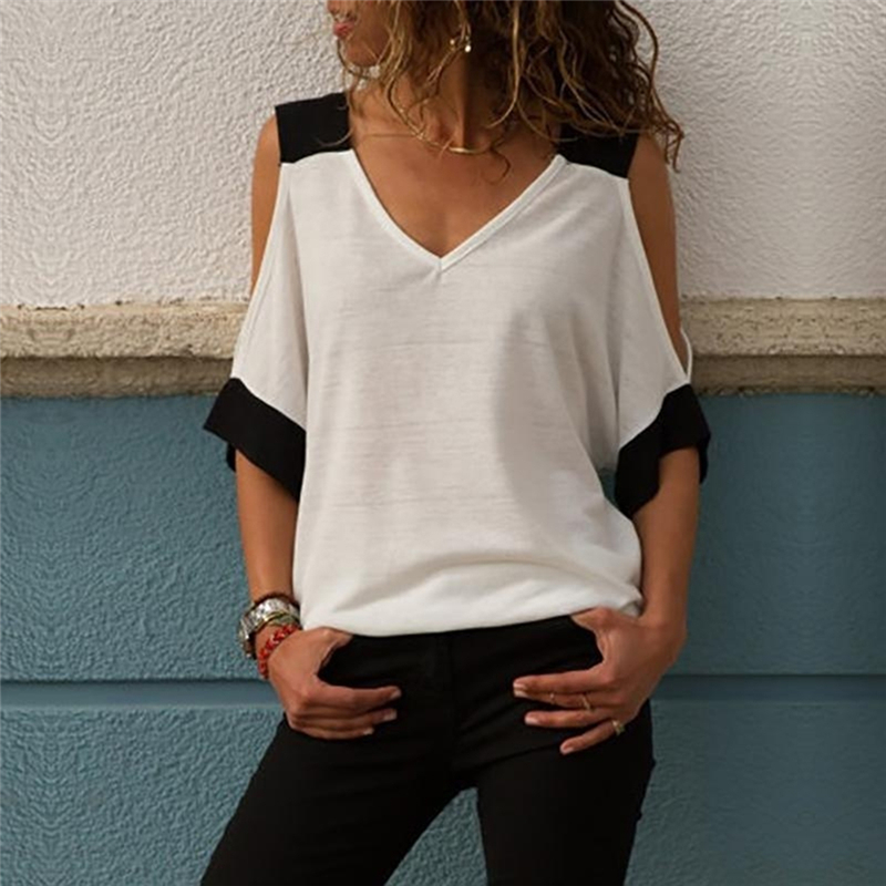 Women New Arrival Sexy Off Shoulder V-Neck T-Shirt Summer Black White Patchwork Tshirt For Female Top Tees Drop Ship