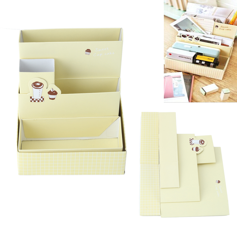 1pcs Cute Coffee Cake Pattern Stationery Makeup Cosmetic Desk Organizer Folding Storage Box Desk