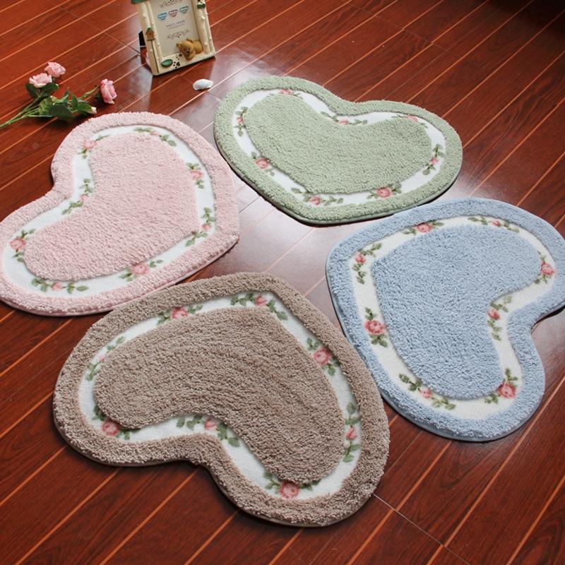 Pastorale Mignon Porte Carpet Coeur Forme Imprimé floral Aspiration Porte Tapis Anti-slip Siège Tapis 45*50 cm chambre Décoration de La Maison