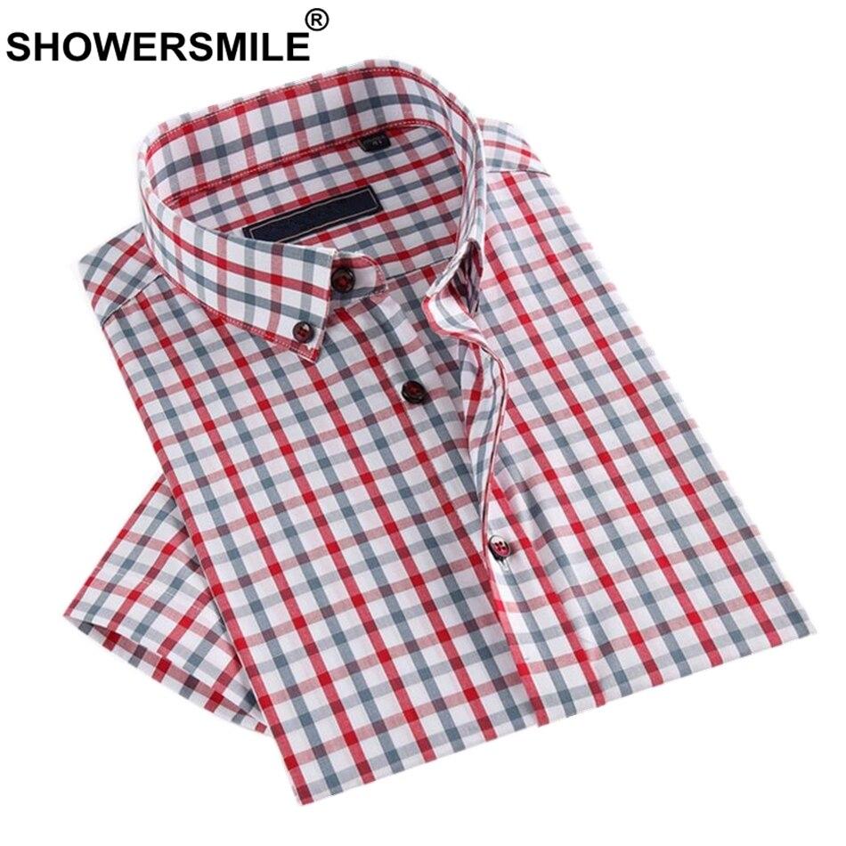 SHOWERSMILE European Dress Shirts Men Plaid Business Slim Fit Summer Short Sleev