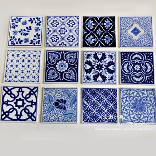 Blue And White Porcelain Tile Cup Pad Decoration Wall Stickers Countertop Fashion Coaster In Vases From Home Garden On