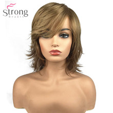 قوي الجمال المرأة الاصطناعية كابليس شعر مستعار شعر طبيعي شقراء متوسطة مستقيم الطبقات حلاقة المشاهير الباروكات