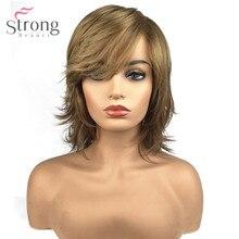 StrongBeauty damskie syntetyczne Capless peruka naturalne włosy blond średnie proste warstwowe fryzury Celebrity peruki