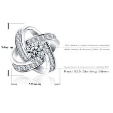 LZESHINE 100% Genuine Sterling-silver-jewelry Earrings Stud with CZ Stone Sterling Silver Earrings for Women Wedding SER0102-B