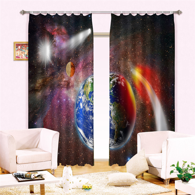окна юпитер - Jupiter and earth Luxury Window 3D Curtains set For Bed room Living room Office Hotel Home Wall Decorative Drapes Wall tapestry