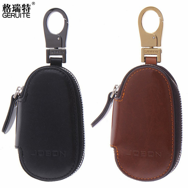 JOBON Luxury Leather Zipper Car Key Case Bag Cover Stainless Steel Keychain For Women Man Car Key Chain Ring Birthday Gifts