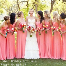 Cheap Long Bridesmaid Dresses 2017 Custom Made Coral Pink Chiffon Bridesmaid Dress Formal Maid Of Honor Gown For Wedding Party
