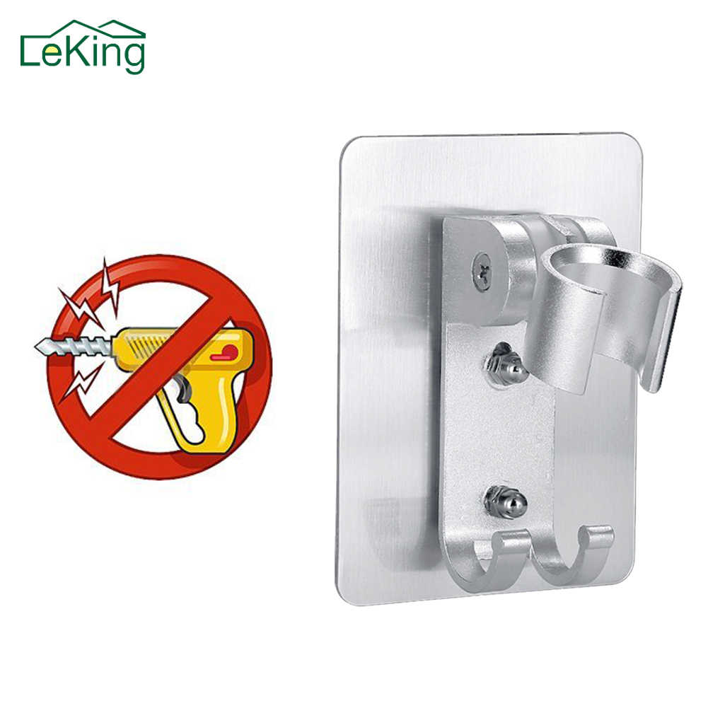 LeKing Wall Gel Mounted Shower Head Stand Bracket Holder Hand Held Bathroom Shower Head Fitting Portable Bathroom Accessories