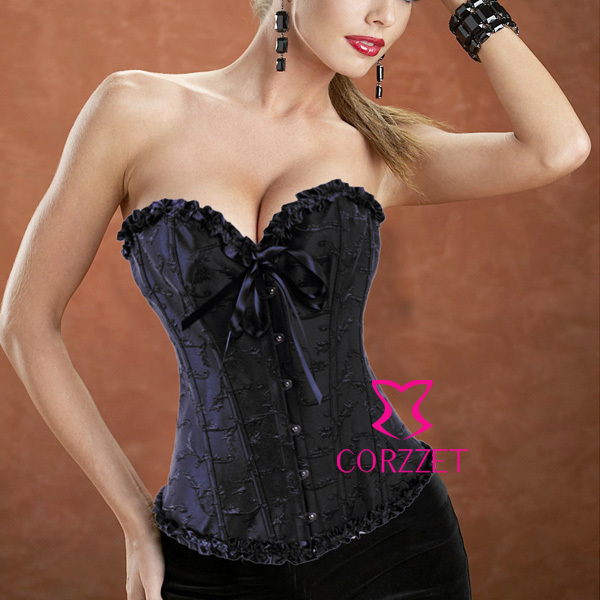 Black Embroidered Strapless Overbust Sexy   Corset     Bustier   Tops Gothic   Corsets   and   Bustiers   Women Corselet Espartilhos E Corpetes