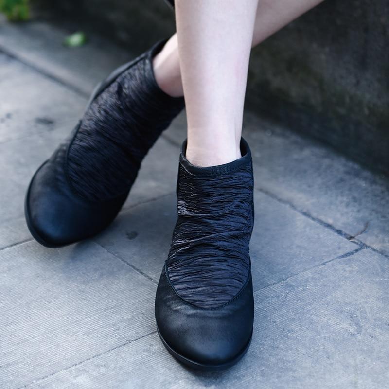 Здесь можно купить  Artmu New Women Boots Handmade Pointed Toe Leather Shoes Zipper Flats Comfort Dress Shoes Woman Short Boots Soft Soles  Обувь