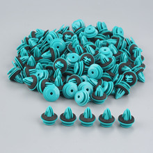 100Pcs Universal Auto Fastener Vehicle Car Bumper Clips Retainer Rivet Door Panel Fender Liner Blue