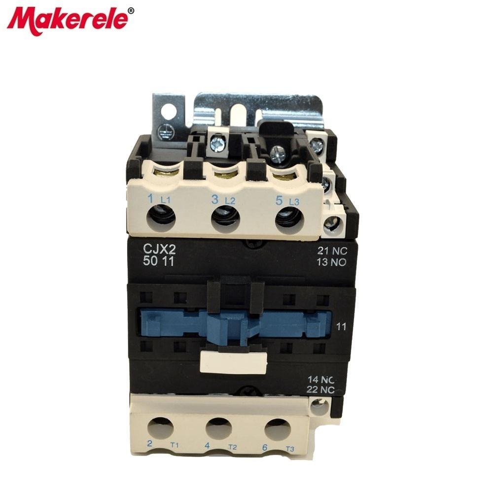 цена на CJX2-5011 AC Contator 50A 3 Phase 3-Pole LC1 380V 220V 110V 36V 24V 3P+1NO+1NC 50/60Hz Din Rail Mounted AC Contator