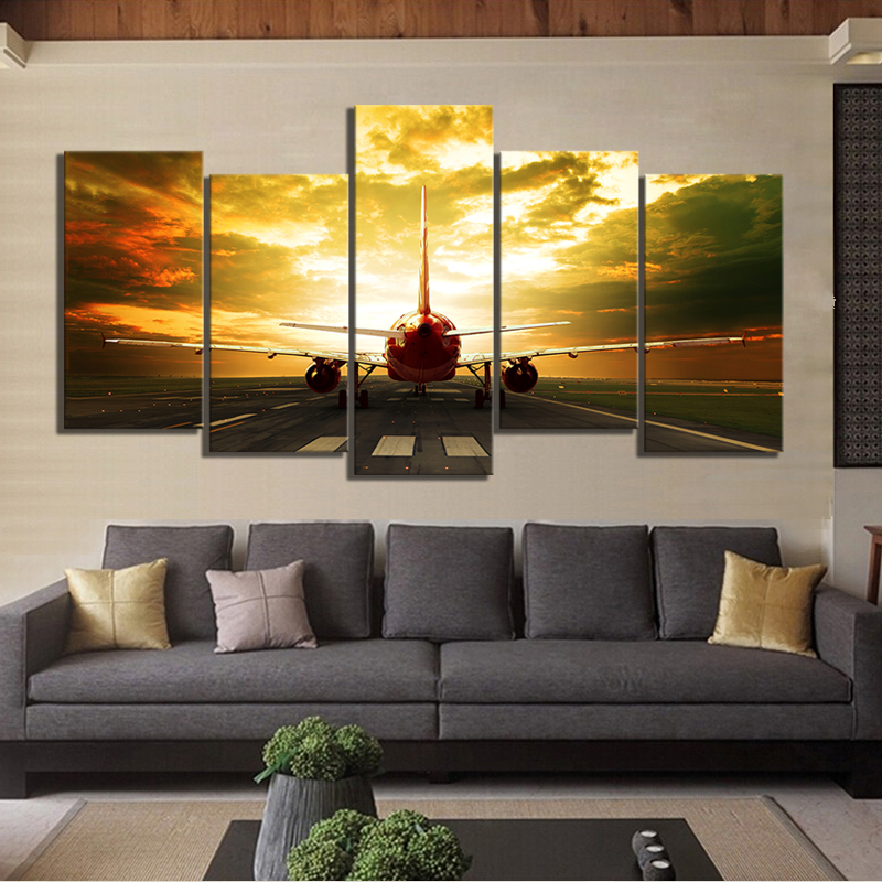 5 Piece HD Military Airplane Pictures Paintings Aircraft Plane Poster Canvas Paintings Landscape Wall Art for Home Decor 2