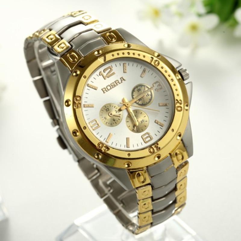 70f6919602af3 2018 الساخن بيع العلامة التجارية ROSRA جديد أزياء جولة الطلب الديكور ساعة  معصم للرجل الذهب الرجال الصلب الكامل ساعة كاملة الفولاذ الصلب