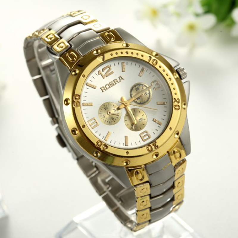 2019 Hot Sell Brand ROSRA New Fashion Round Dial Decoration Wrist Watch For Man Gold Men Full Steel Clock Full Stainless Steel