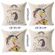 hot Cute Colorful Nordic simple unicorn Decorative living room high quality sofa Cushion Cover Home car decorative pillow case