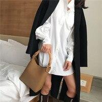 2018 New Antique Wooden Handle Bucket Women Composite Bag Patchwork Women Handbag Trend Design Women Bag Ins Big Shoulder Bucket