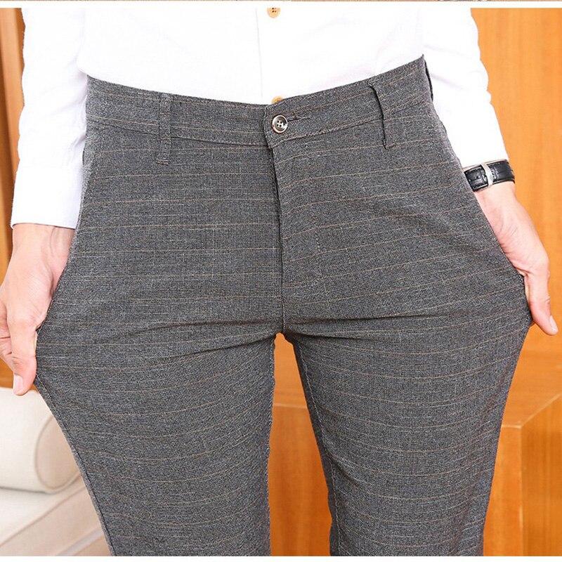 ICPANS Stretch Plaid Suit Pants For Men Cotton Suit Pants Men Dress Pants Summer Slim Fit Men Trousers Office Size 38