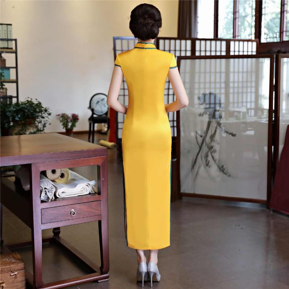 Thượng Hải Chuyện Giả Lụa Qipao Đầm Sườn Xám Quốc Gia Xu Hướng Áo Ngắn Tay Ôm Cổ Truyền Trung Hoa Đầm Cho Người Phụ Nữ