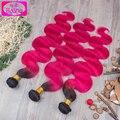 8A brasileños Virgin Hair Ombre armadura brasileña del pelo 3 Bundles 1B / color de rosa caliente extensiones brasileñas del pelo Ombre