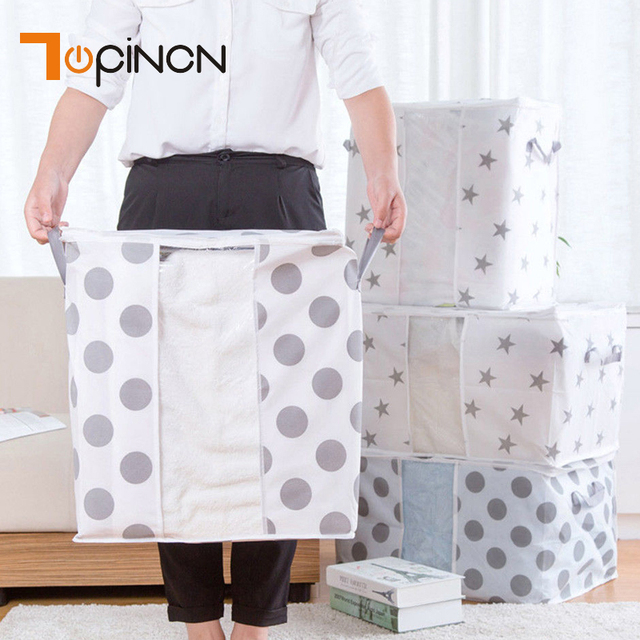 Non Woven Quilt Storage Bag Home Clothes Pillow Blanket Travel Luggage Organizer