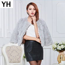 2019 New Hot Sale Lady Real Rex Rabbit Fur Coat Genuine Real Rex Rabbit Fur Short Jacket 100 Natural Rex Rabbit Fur Overcoat cheap REGULAR Double-faced Fur Natural Color WOMEN O-Neck Real Fur YH4232 Nine Quarter Covered Button Solid Casual Slim Thick (Winter)