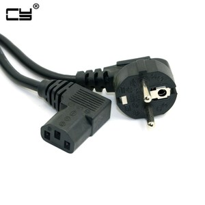 Image 1 - 5FT C13 IEC Kettle 90 right angle Degree to European 2 pin Round AC EU Plug Power Lead Cord PC 150cm  Cable
