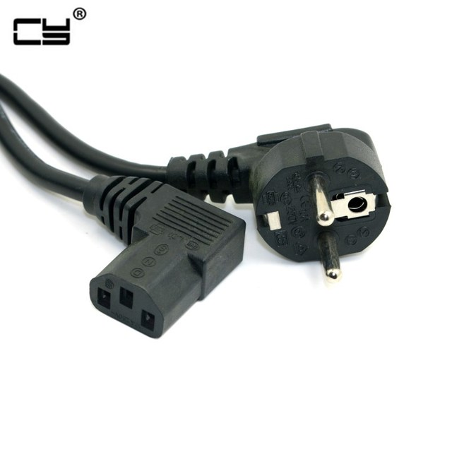 5FT C13 IEC Kettle 90 right angle Degree to European 2 pin Round AC EU Plug Power Lead Cord PC 150cm  Cable
