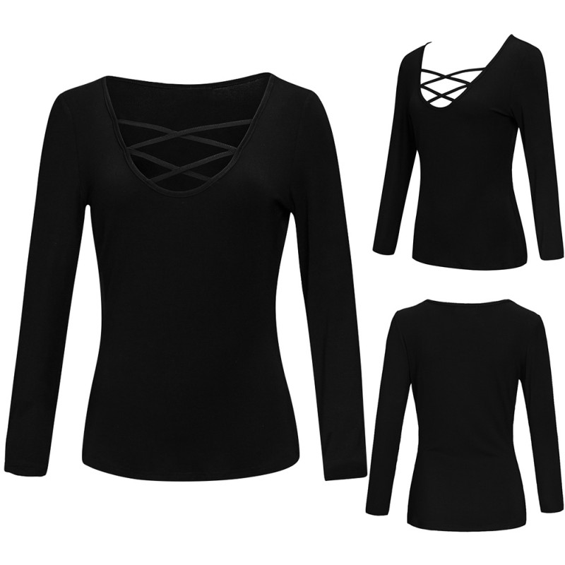 Sexy Women Solid Black T Shirt Corset Pullover Women Top Shirt Long Sleeve Fashion Office Lady 2018 New Arrival