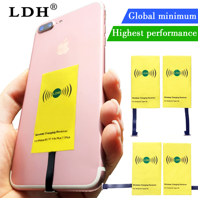 LDH Qi Wireless Charger Receiver For iPhone 7 6 6s 5Plus Wireless Charging Micro Type C Adapter For Samsung Xiaomi Android Phone