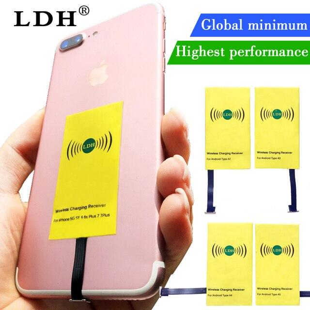 Receptor de cargador inalámbrico Qi LDH para iPhone 7 6 6 s 5 Plus adaptador de carga inalámbrica Micro tipo C para samsung Xiaomi teléfono Android