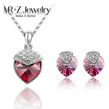 Hot Arrival Austrian Crystal Heart Strawberry Rose Pink Crystal Jewelry Sets 5sets/lot Free Shipping